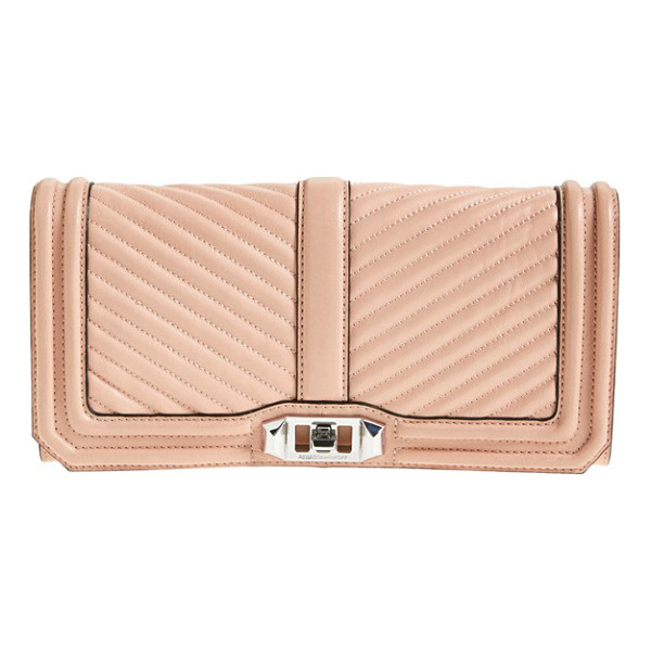 REBECCA MINKOFF Chevron quilted love clutch - Channel quilting takes a sophisticated turn on this supple...