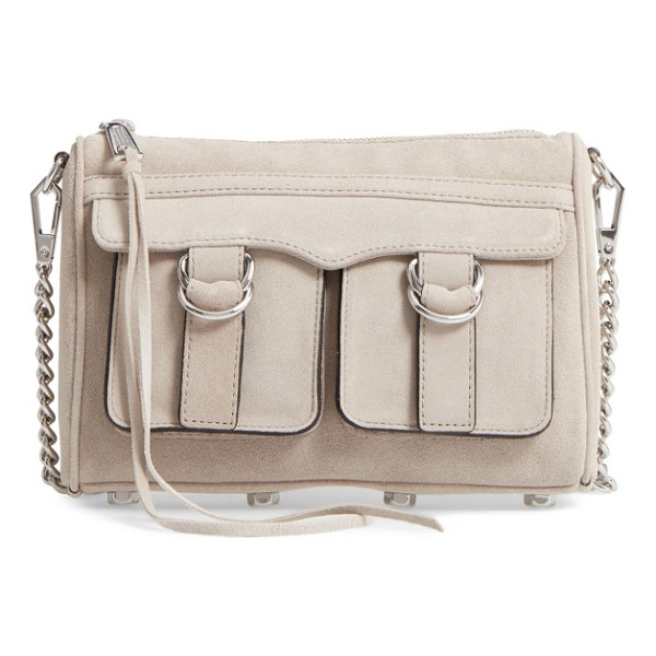 REBECCA MINKOFF cliffside nubuck crossbody bag - Strap-down exterior pockets and another set of flap pockets...