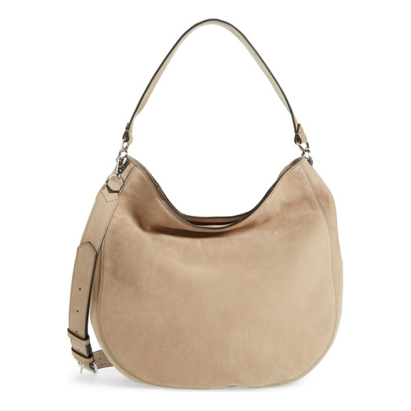 REBECCA MINKOFF convertible nubuck hobo with embroidered strap - One spacious bag, multiple carrying options: this...