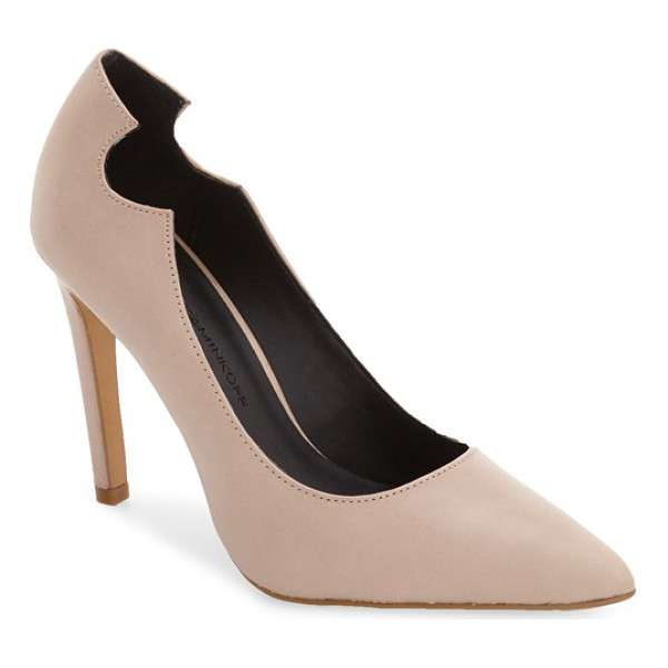 REBECCA MINKOFF hailey pump - A rounded notch details the topline of this almond-toe pump...