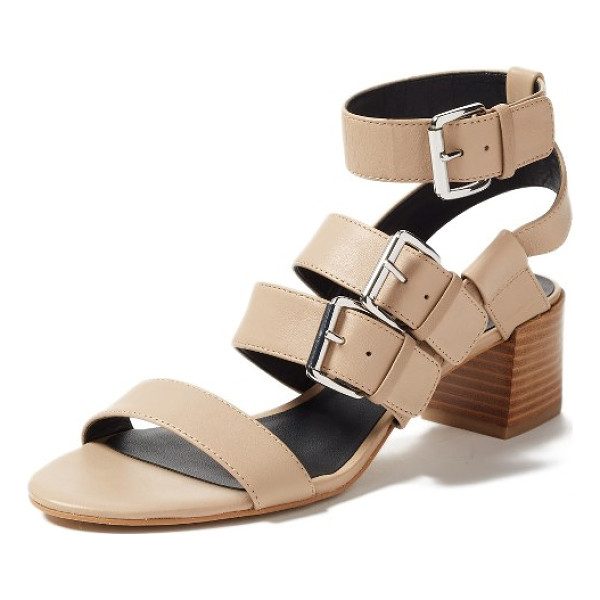 REBECCA MINKOFF ilana buckle strap sandal - Bold suede straps climb the front of a warm-weather sandal...