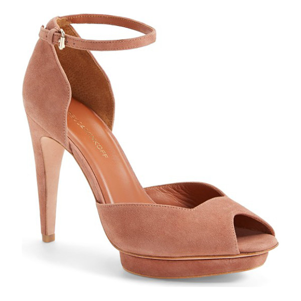 REBECCA MINKOFF ivy ankle strap dorsay peep toe pump - Sun-washed suede lends soft glamour to a stunning d'Orsay...