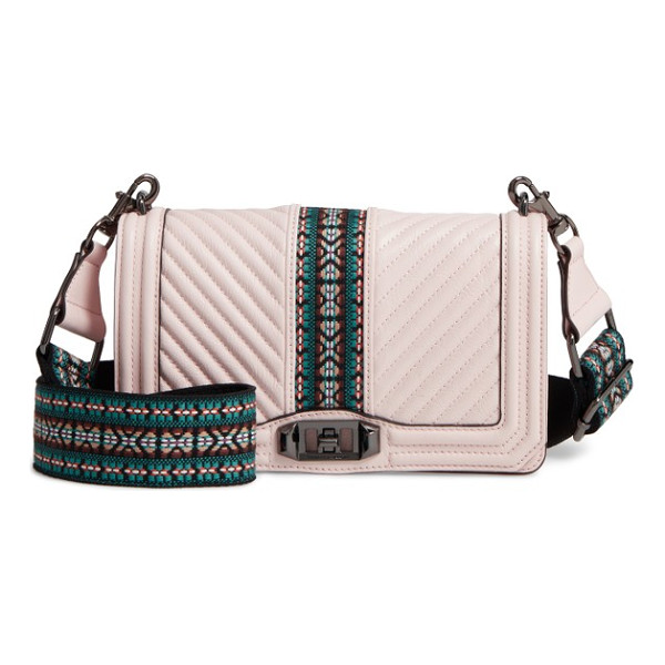 Rebecca Minkoff Jacquard Love Leather Crossbody Bag With