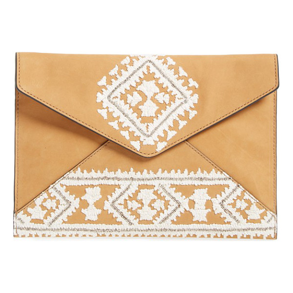 REBECCA MINKOFF Leo clutch - Geometric embroidery lends this iteration of the fabulous...
