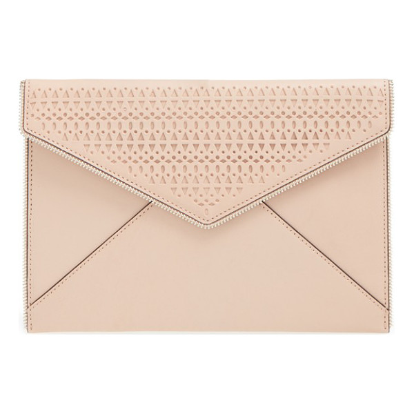 REBECCA MINKOFF Leo perforated leather envelope clutch - Open zip teeth trace the edges of a slim leather clutch...