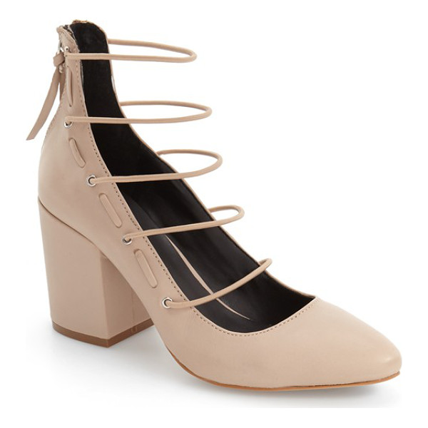 REBECCA MINKOFF lexi cage pump - Slender horizontal bands ladder dramatically up the front...