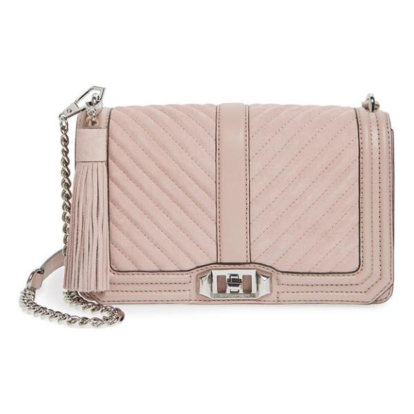 REBECCA MINKOFF Quilted love suede crossbody bag with tassel - With its chic mix of quilted suede and leather done in a...