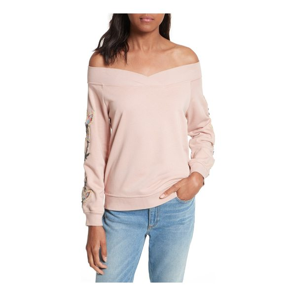 REBECCA MINKOFF macey embroidered sweatshirt - Whimsical embroidery adds a pretty finish to a blush pink...