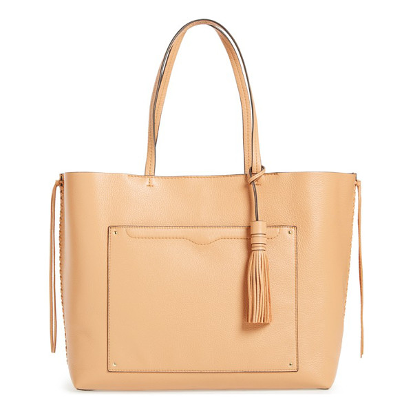 REBECCA MINKOFF Panama leather shoulder tote - Whipstitched side seams, long knitted strips at the sides...
