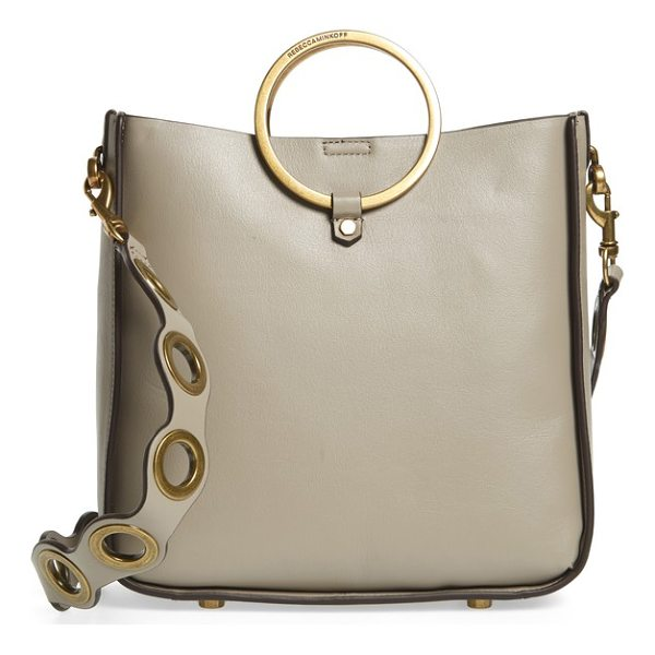 REBECCA MINKOFF ring leather feed bag - Metallic ring handles enhance the contemporary...