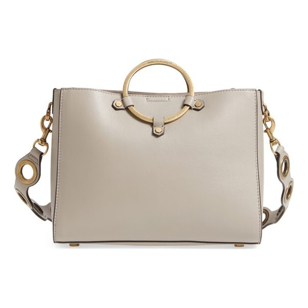 REBECCA MINKOFF ring leather satchel - Oversized, grommet-inspired hardware punctuating the strap...