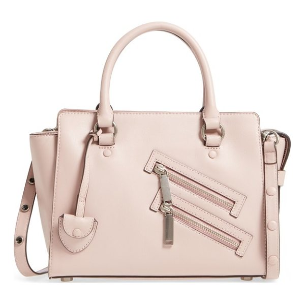REBECCA MINKOFF small jamie leather satchel - This commute-friendly satchel features angled double zip...