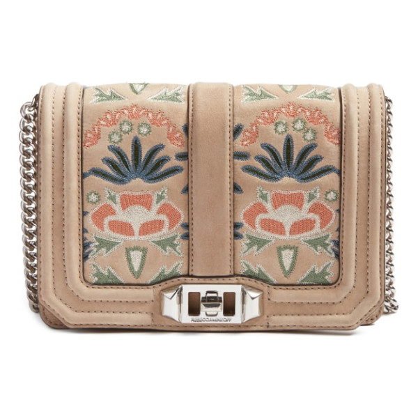 REBECCA MINKOFF small love embroidered nubuck crossbody bag - You'll fall head over heels with this fresh version of a...