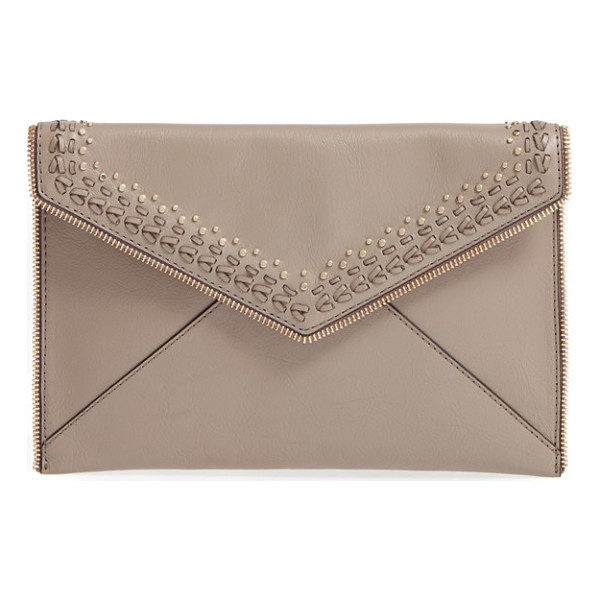 REBECCA MINKOFF 'whipstitch leo' leather clutch - Edgy zip teeth outline a slim envelope clutch embellished...