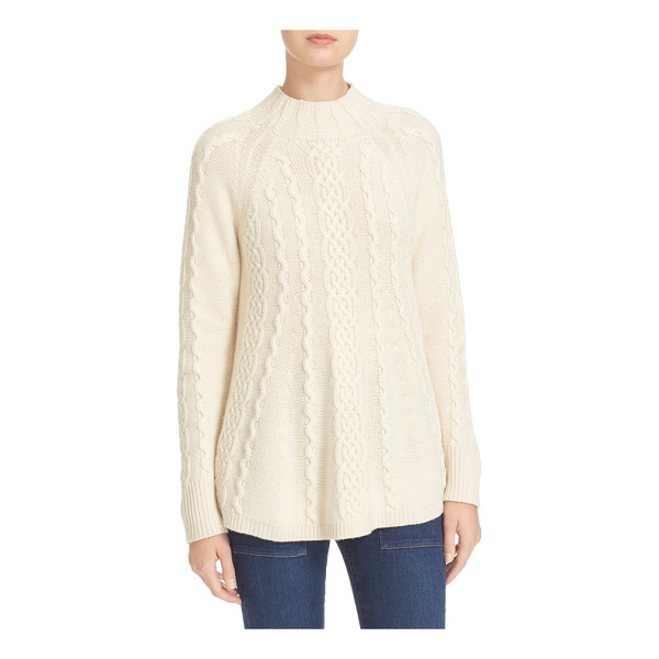 REBECCA TAYLOR cable knit swing pullover - Classic cable patterning textures a mock-neck sweater knit...