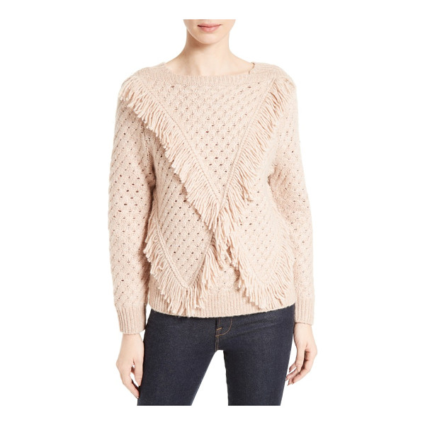 REBECCA TAYLOR fringe pullover - Lush fringe adds playful movement to a subtly textured,...