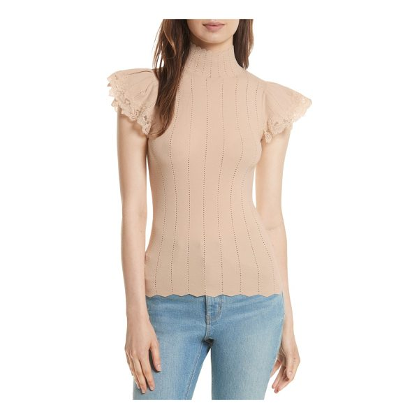 REBECCA TAYLOR lace trim pointelle top - Flirty with a sophisticated edge, a knit top with flouncy...