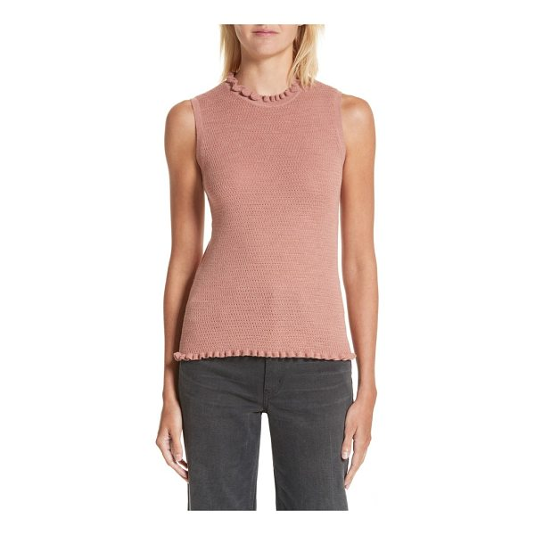 REBECCA TAYLOR merino wool sweater tank - Frilly crewneck and hemlines add a touch of demure...