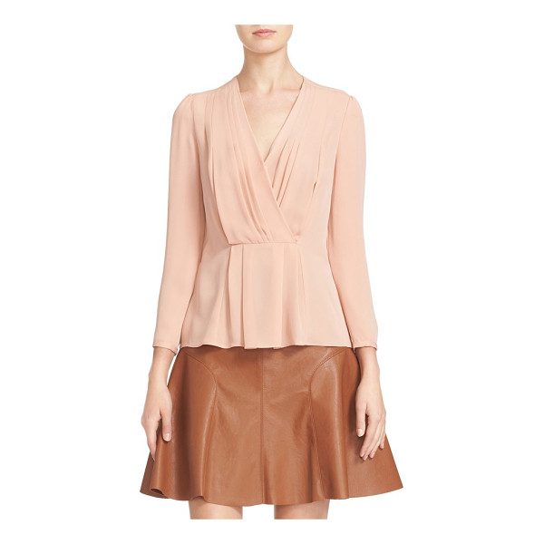 REBECCA TAYLOR pleated georgette faux wrap blouse - Graceful pleats release at the surplice neckline and...