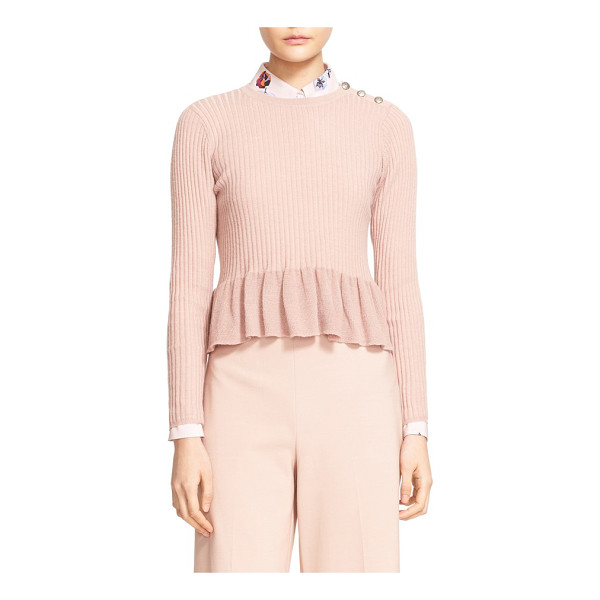 REBECCA TAYLOR rib knit peplum pullover - A trio of embossed buttons gleams softly at one shoulder of...