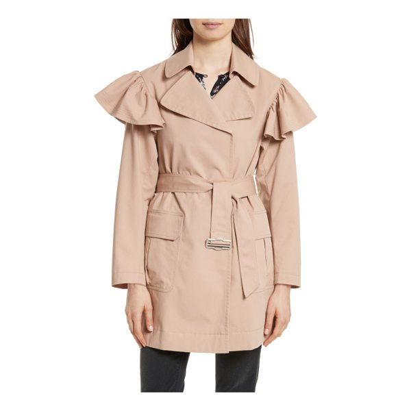 REBECCA TAYLOR ruffle trim trench coat - A wrap-front trench of stretch-cotton faille gets a...