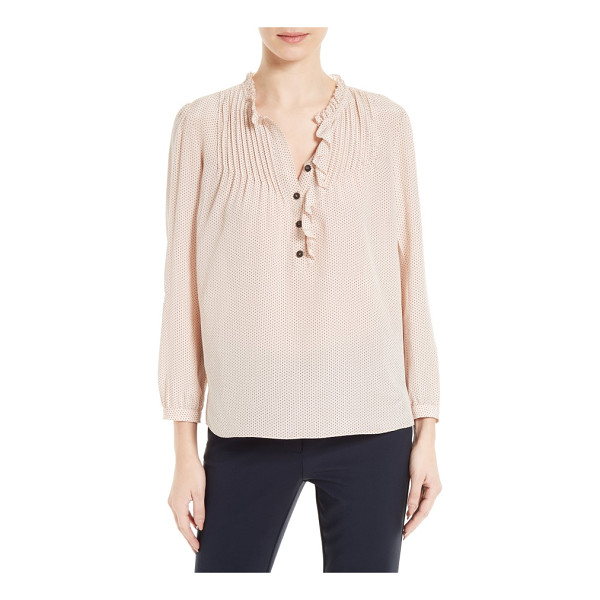 REBECCA TAYLOR silk blouse - Skinny pintucks frame the ruffled neckline of a diaphanous...