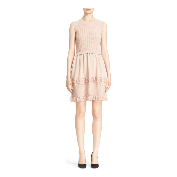 RED VALENTINO knit fit & flare dress - Crocheted ruffles and delicate pointelle stitching detail a...