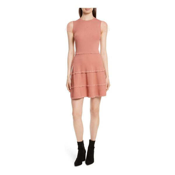 RED VALENTINO scallop stretch knit dress - Sheer point d'esprit sleeves further the sweetly feminine...