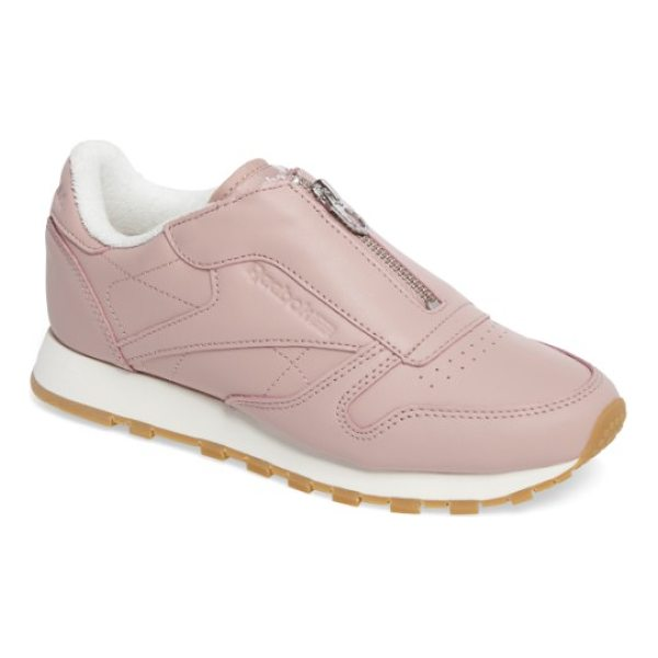 REEBOK classic zip sneaker - A center zip takes the place of laces on a low-cut sneaker...