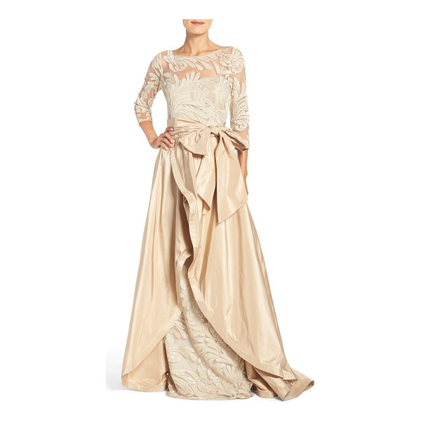 RICKIE FREEMAN FOR TERI JON embroidered mesh gown with taffeta overlay - Leafy embroidery styles the illusion bodice of a regal...