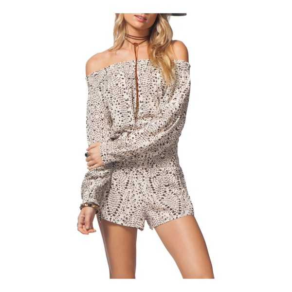 RIP CURL sun shadow off the shoulder romper - A confetti-like geo print adds playful embellishment to...