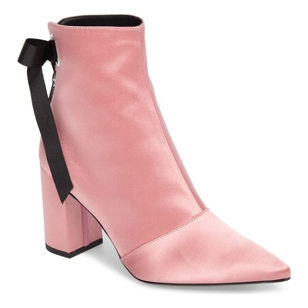 ROBERT CLERGERIE x self-portrait karlis pointy toe bootie - A pink-satin bootie with a wicked pointy toe is secured...