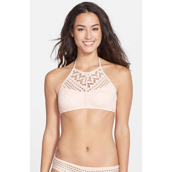 ROBIN PICCONE mia crochet halter bikini top - A pale pink hue and patterned crochet overlay lend sweet...