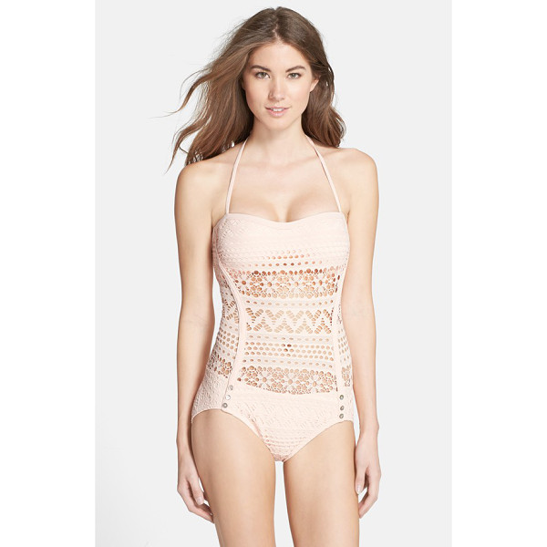 ROBIN PICCONE mia crochet overlay one-piece swimsuit - A sheer, pale-pink crochet overlay provides tasteful...