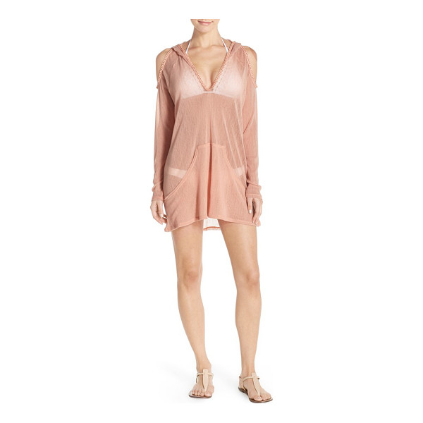 ROBIN PICCONE sophia cold shoulder mesh hoodie - Head to the pool in style in this sheer mesh cover-up that...