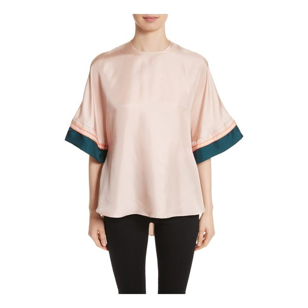 ROKSANDA anders silk top - Contrast pleating adds a flash of rich color to a creamy...
