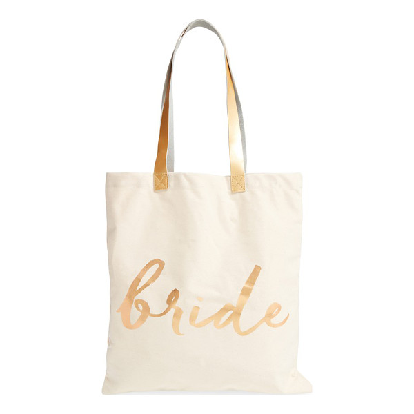 ROSANNA 'bride' canvas tote - Elegant script and goldtone accents make this canvas tote
