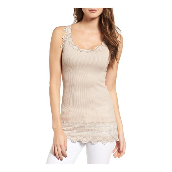 ROSEMUNDE silk & cotton rib knit tank - Delicately scalloped lace frames the edges of a luxe silk...