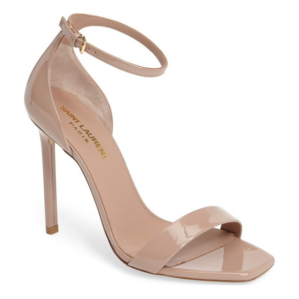 SAINT LAURENT amber ankle strap sandal - Ultra-sleek ankle-strap stilettos in a neutral hue let your...