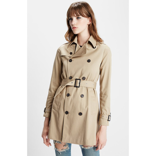 SAINT LAURENT double breasted gabardine trench coat - All the telltale signs of a classic trench keep this belted...