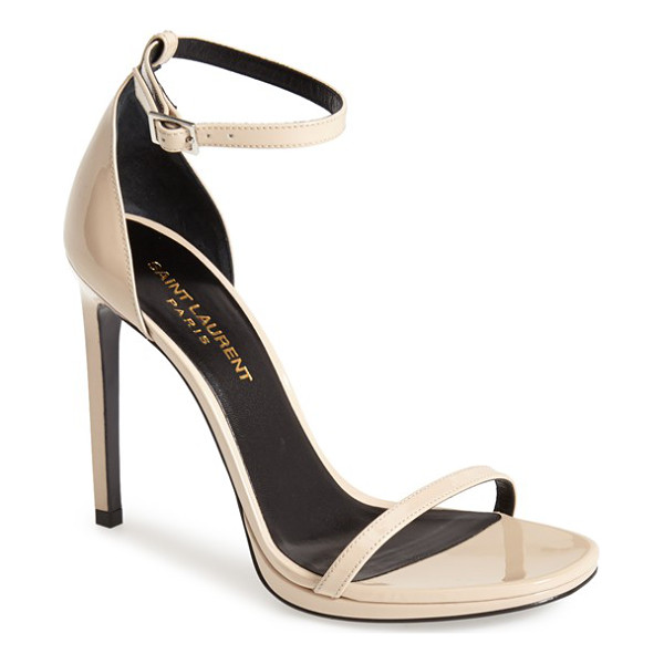 SAINT LAURENT jane ankle strap leather sandal - Skinny straps cast in alluring patent leather adorn a...