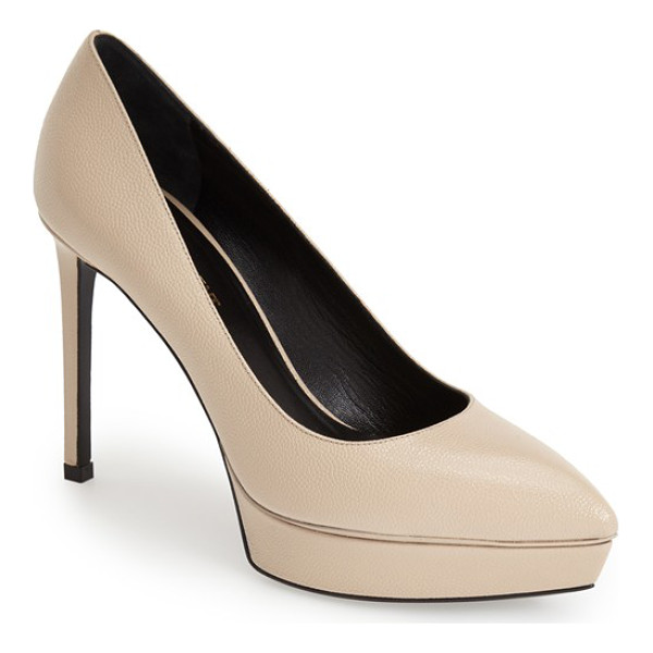 SAINT LAURENT janis pointy toe platform pump - A classic pointy-toe pump sculpted in Italy from glazed,...