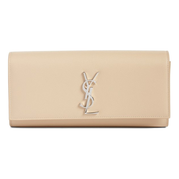 SAINT LAURENT kate calfskin leather clutch - Textured calfskin leather in a creamy hue is perfectly set...