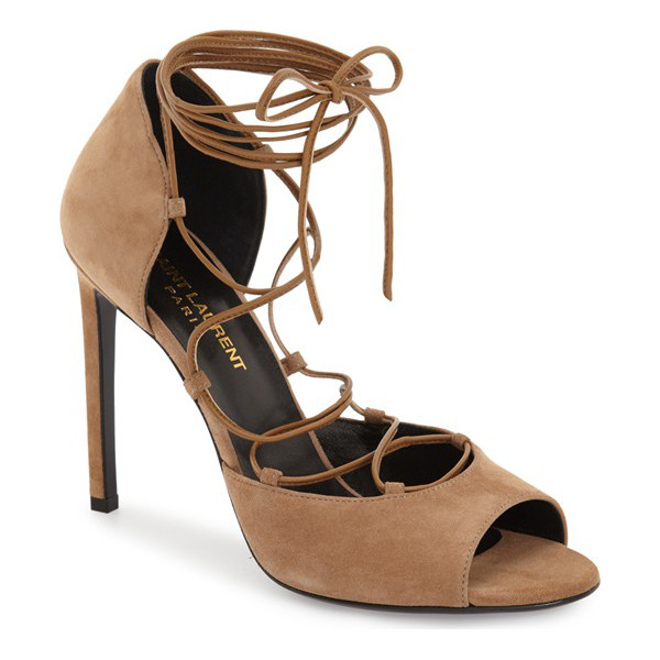 SAINT LAURENT kate lace-up sandal - Slim wraparound straps add unmistakable vintage glamour to...