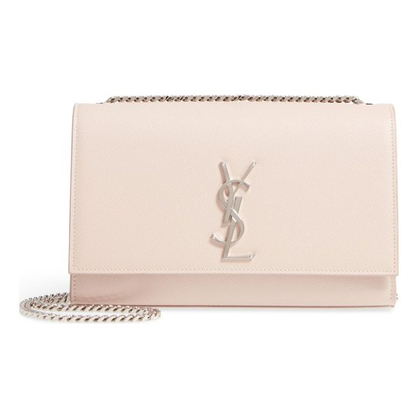SAINT LAURENT medium kate calfskin leather wallet on a chain - A monogrammed insignia makes an iconic mark on a pristine...