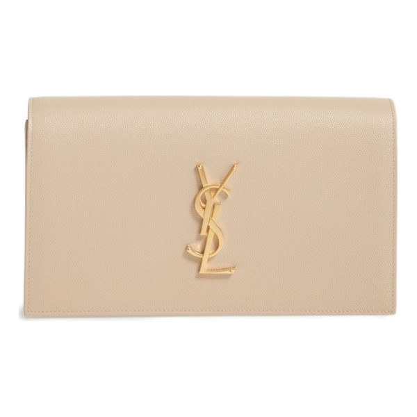 SAINT LAURENT 'monogram' leather clutch - A gilt insignia polishes the front of this sleek,