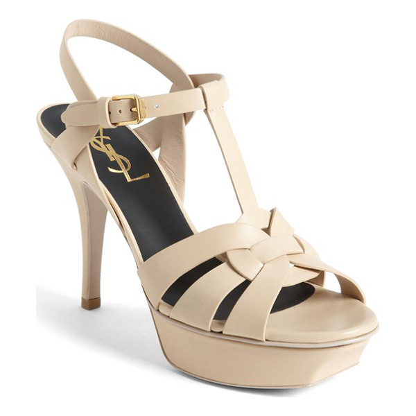 SAINT LAURENT 'tribute' sandal - Smooth, intricately interlocked leather straps style a...