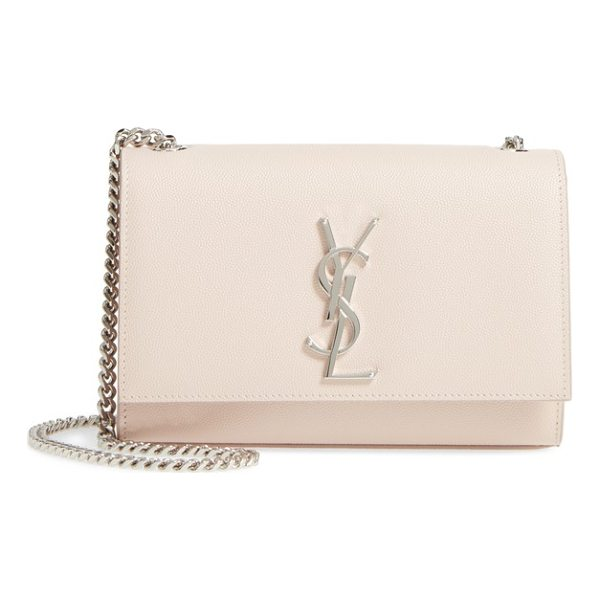 SAINT LAURENT small kate grained leather crossbody bag - A gleaming monogrammed insignia makes an iconic mark on a...