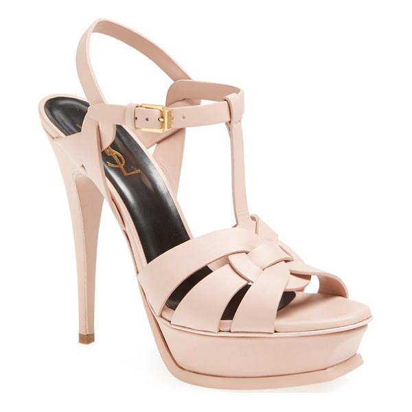SAINT LAURENT 'tribute' sandal - Interlocking straps of leather form a breezy, stacked-heel...