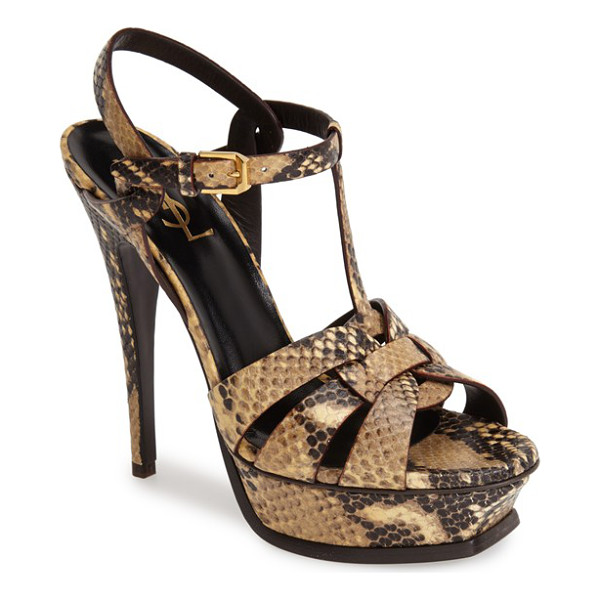 SAINT LAURENT tribute t-strap sandal - A scintillating snake-embossed finish heightens the...
